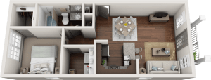 Flats at 146 Berkeley 1 Bedroom Floor Plan