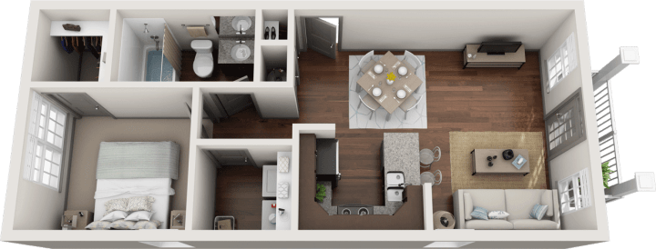 Flats at 146 Berkeley 1 Bedroom Floor Plan