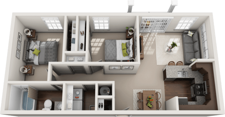 Flats at 146 Emsworth 2 Bedroom Floor Plan
