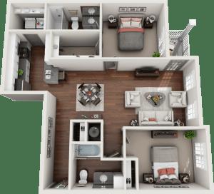 Flats at 146 Fleetwood 2 Bedroom Floor Plan