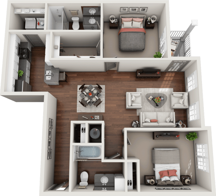 Flats at 146 Fleetwood 2 Bedroom Floor Plan