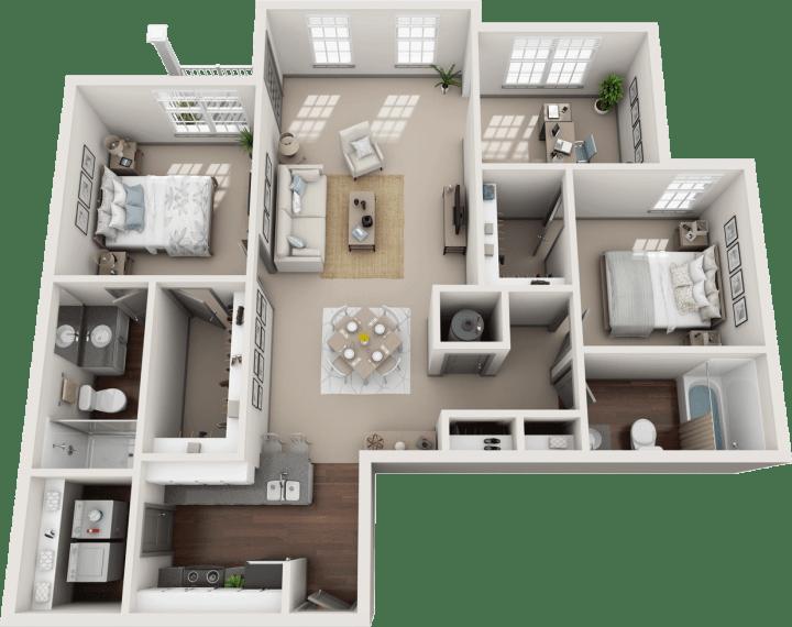 Flats at 146 Halstead 2 Bedroom Floor Plan