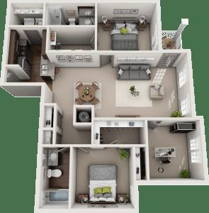 Flats at 146 Kingston 3 Bedroom Floor Plan