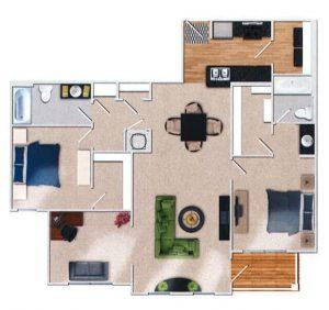 Halstead 2 Bedroom Floor Plan